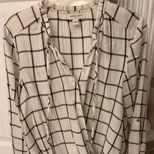 Tops - White long sleeved flannel blouse